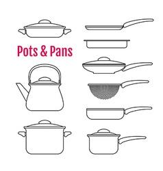 Set of silhouettes utensils Pots pans kettle vector image