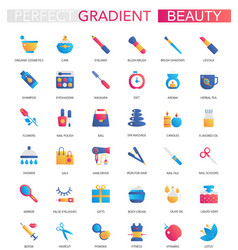 set trendy flat gradient beauty vector image