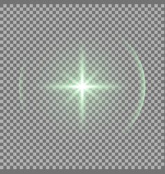 shining star with a glare green color vector image