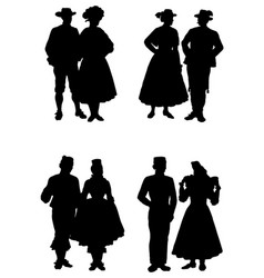 Silhouettes people in national costumes vector
