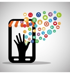 Smartphone shopping virtual wearable technology vector