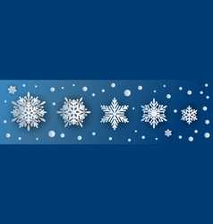snowflake paper cut 3d icons or snow symbols vector image
