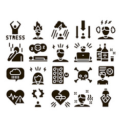 Stress and depression glyph set vector