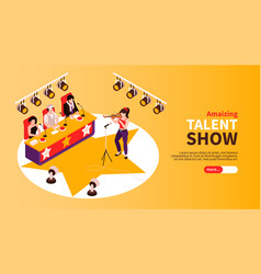 Talent show isometric banner vector