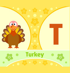 the english alphabet with turkey vector image