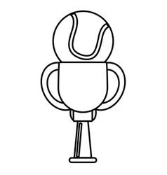 Trophy tennis ball winner outline vector