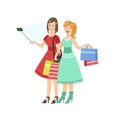 Two Girlfriends Shopping Taking Picture With vector