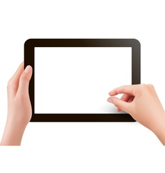 Two hands with tablet computer vector