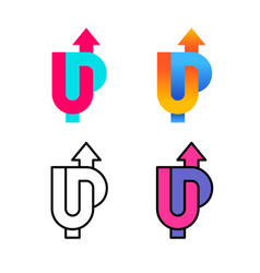 up word colorful logo with arrow up u and p vector image