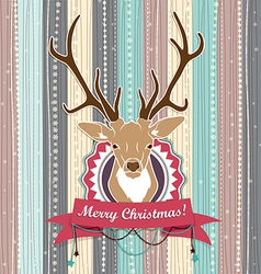 Vintage Christmas card with Deer Cold Pastel vector image