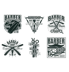 Vintage hair saloon labels set vector
