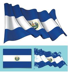 Waving flag of el salvador vector