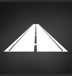 white logo a minimalistic road with a roadside vector image