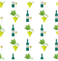 white wine and green grapes bunch seamless pattern vector image