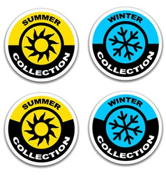 winter and summer collection stickers vector image