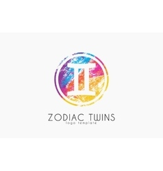 Zodiac twins logo Twins symbol logo Creative vector image