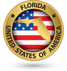 Florida state gold label with state map vector image vector image