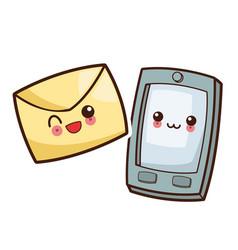 kawaii smartphone mail envelope image vector image vector image