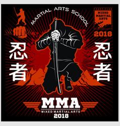 ninja warrior fighter - mixed martial art vector image