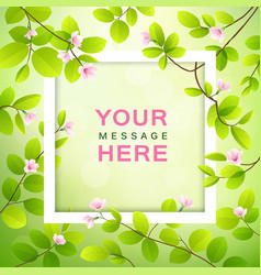 pink flower and leave with white frame vector image vector image