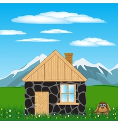 House in mountain vector image