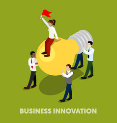 isometric business people innovation concept vector image