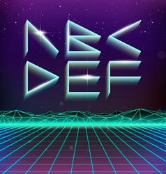 80s retro futurism geometric font from a to f vector