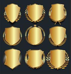 golden shield retro design vector image vector image