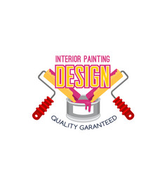 painting service icon design with paint and roller vector image vector image