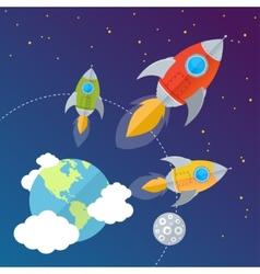 rocket card background vector image