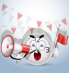 Watch smile shouting through a megaphone vector image vector image