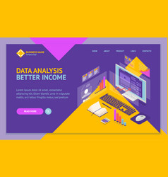 analysis data investment concept landing web page vector image