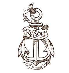 Anchor logo sketch of tattoo outline on the theme vector