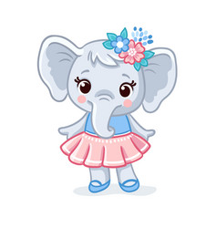 Baby elephant in a beautiful dress animal vector