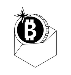 bitcoin envelope transfer in black and white vector image