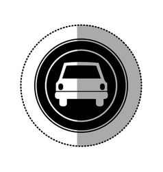 Black emblem round front car icon vector