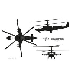 black silhouette military helicopter vector image