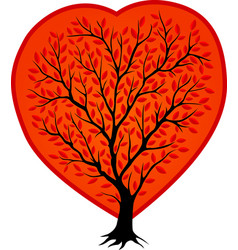 black tree silhouette in the red shape of heart vector image