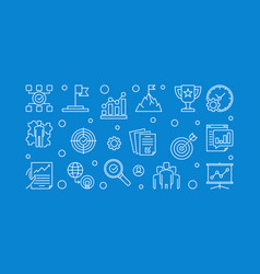 Business goals blue outline horizontal vector