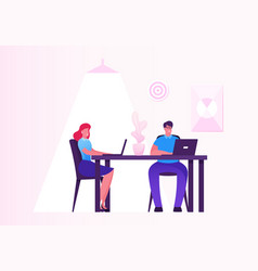business woman and man working on personal vector image