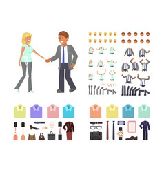 cartoon business man and woman vector image