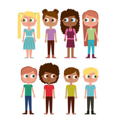 cartoon kids happy girls and boys happy vector image