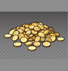 cartoon pile of gold coins isolated on transparent vector image