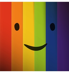 Cartoon smiling face on abstract colorful rainbow vector