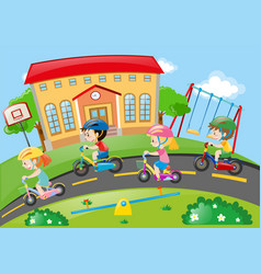 Children riding bike on the road vector