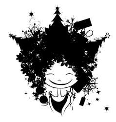 Christmas female portrait black silhouette for vector image