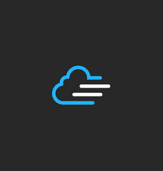 Cloud line technology logo vector