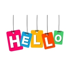 Colorful hanging cardboard tags - hello vector