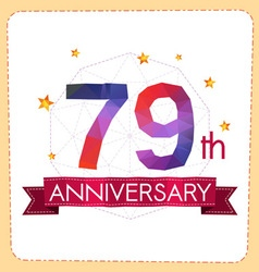 Colorful polygonal anniversary logo 2 079 vector