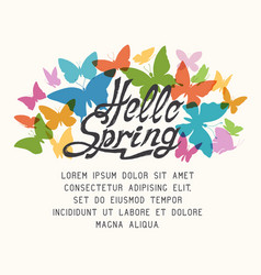 Colorful spring background with butterflies vector